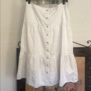Banana Republic white tiered peasant midi skirt